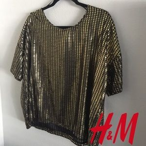 H&M Gold Black Mesh Top NWT